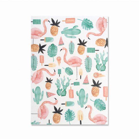 Karte Flamingo, Bär von Pappe