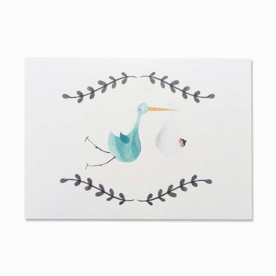 Karte Geburt Storch, Bär von Pappe