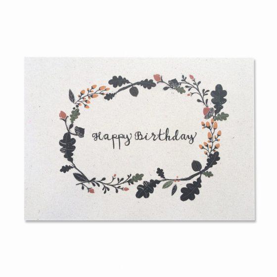 Karte Geburtstag/Happy Birthday Herbst, Bär von Pappe
