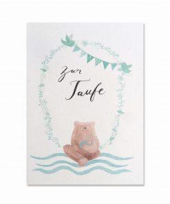 Karte Taufe Junge, Bär von Pappe