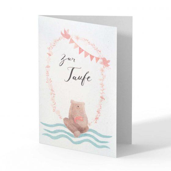 Karte Taufe Mädchen, Bär von Pappe