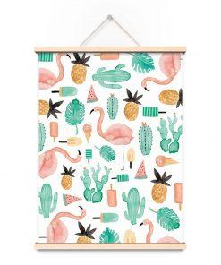 Poster Flamingo, Bär von Pappe