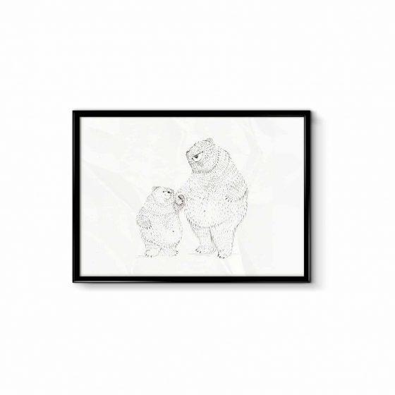 Poster kleiner und großer Bär, Bär von Pappe