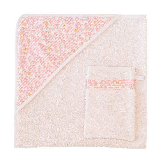 Kapuzen-Handtuch&Waschlappen Pebble Pink, Trixie Baby