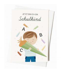 Karte Einschulung/Schulkind Junge, Vierundfünfzig Illustation
