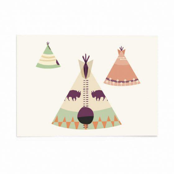 Karte Indianer/Tipi, Vierundfünfzig Illustation