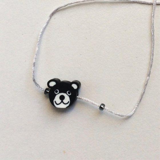 Wunscharmband für Kinder schwarzer Bär, Mara