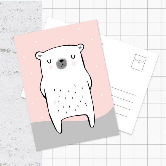 Postkarte Eisbär, Hello Hemmi