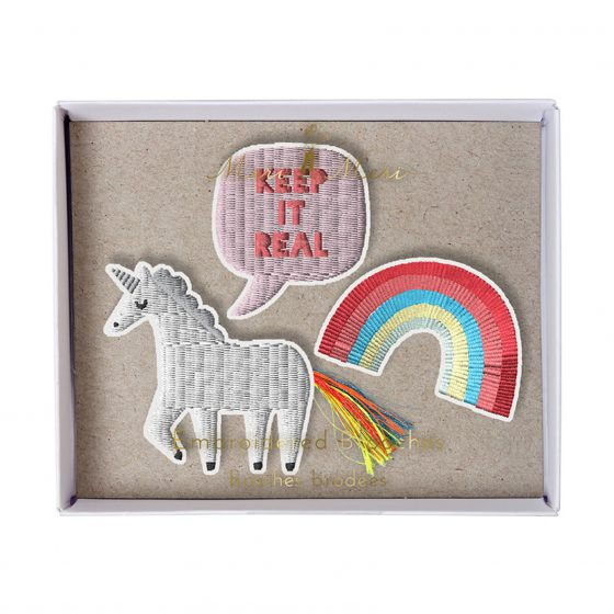 Set Brosche Party Einhorn, Regenbogen, Meri Meri