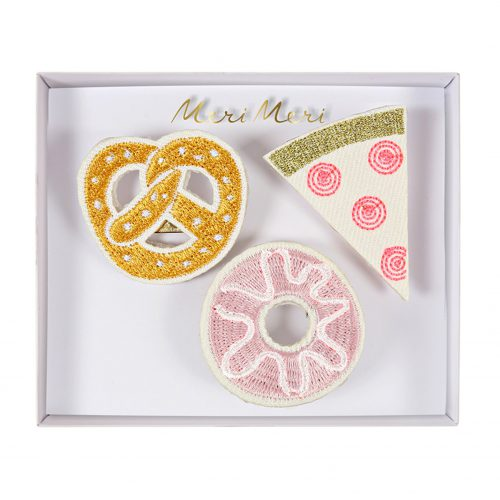 Set Brosche Snacks Brezel Donut Pizza, Meri Meri