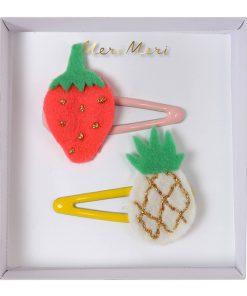 Haarspange Filz Haarklammer Set Erdbeere Ananas, Meri Meri