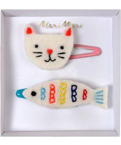 Haarspange Filz Haarklammer Set Katze Fisch, Meri Meri