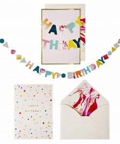Klappkarte Geburtstag Girlande Happy Birthday, Meri Meri