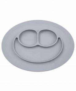 Silikon Teller, haftet auf dem Tisch, Mini Mat pewter/grau, ezpz