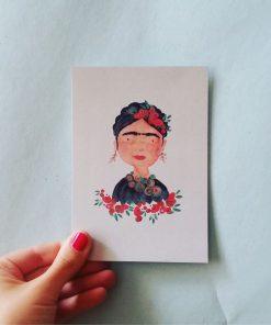Postkarte Frida, Bär von Pappe
