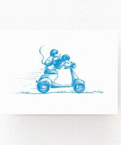 Postkarte Igel blau, Andrea Baldenhofer