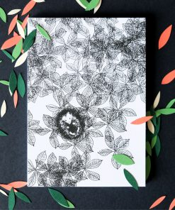 Postkarte Igel schwarz/weiß, Andrea Baldenhofer