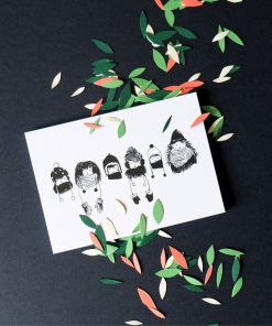 Postkarte Mützen schwarz/weiß, Andrea Baldenhofer