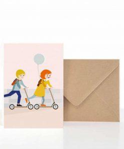 Grußkarte Einschulung/Kindergarten Roller, life is delicious