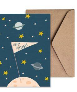 Grußkarte Geburtstag Happy Birthday Astronaut/Weltall/Sterne/Planeten, life is delicious