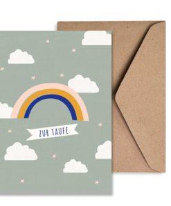 Grußkarte Taufe Junge Regenbogen/Wolken mint, life is delicious