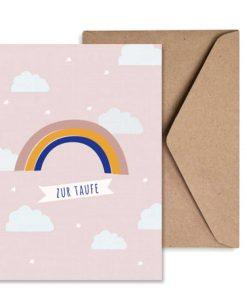 Grußkarte Taufe Mädchen Regenbogen/Wolken rosa, life is delicious