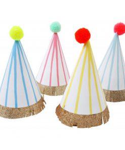 Party Hüte, Bommel, Streifen, Meri Meri