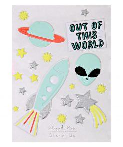 Sticker Out of Space Alien Rakete Stern Planet, Meri Meri