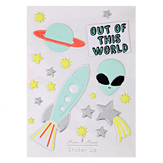 Sticker Out of Space Alien Rakete Stern Planet, Meri Meri