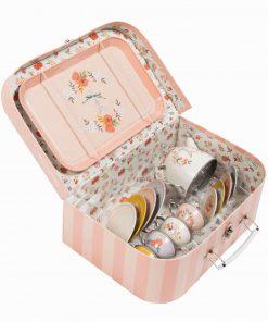 Puppengeschirr/Puppenservice mit Blumen im Koffer 14-teilig, Les Parisiennes, Moulin Roty