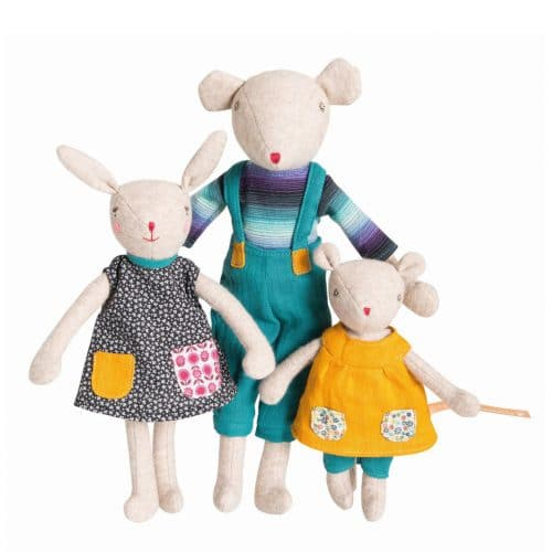 Stofftier Hase Maus, La Familie Mirabelle, Moulin Roty