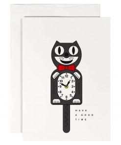 Karte Geburtstag/Happy Birthday, Have a Good Time, Katze Uhr, Peanut Store