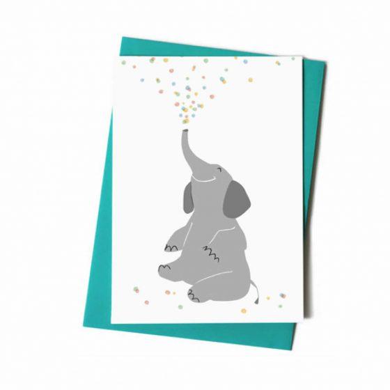 Grußkarte Geburtstag Happy Konfetti Elefant, Vierundfünfzig Illustration