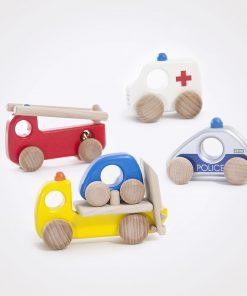 Spielzeugauto/Holzauto Einsatzfahrzeuge Set Polizei Feuerwehr, Krankenwagen, Abschleppwagen, Bajo