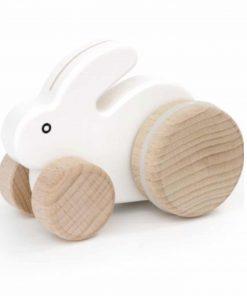 Holzspielzug Hase mit Rädern Weiß, Bajo