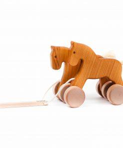 Holzspielzeug Nachzieh-Tier Pferde Natur, Bajo