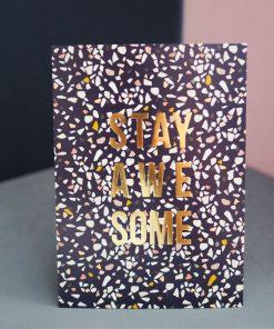 Postkarte stay awesome gold, Kreativ Kollaps/Rasmussons/Paulsvera
