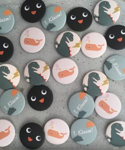 Button Kind Einschulung Wal Dinosaurier Pinguin, life is delicious