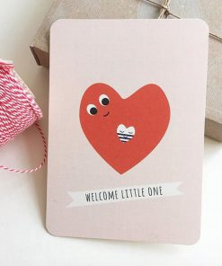 Postkarte Geburt Herz Welcome Little One, Life is delicious