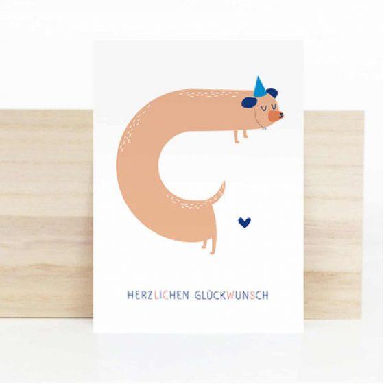 Postkarte Hund Herzlichen Glückwunsch, Hello Hemmi