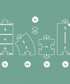 Flexible Spielstraße Erweiterung/Extension Halfway/8-Teile, waytoplay