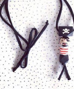 Kette Pirat Holzperlen handgemacht, Ellipirelli