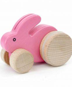 Holzspielzug Hase mit Rädern Pink, Bajo