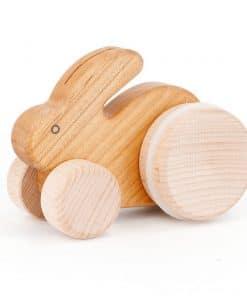 Holzspielzug Hase mit Rädern Natur, Bajo